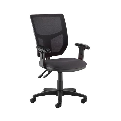 Altino 2 lever high mesh back operators chair with adjustable arms - Blizzard Grey