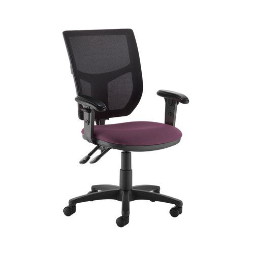 Altino 2 lever high mesh back operators chair with adjustable arms - Bridgetown Purple