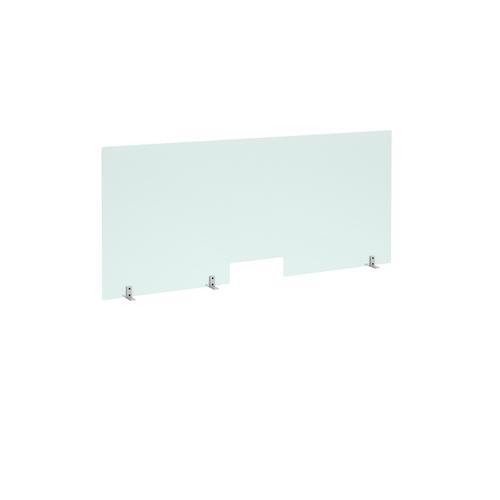 Free standing acrylic 700mm high screen with cutout and metal feet 1600mm wide