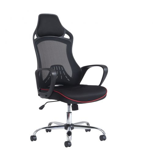 Andretti high mesh back chair - black with red trim