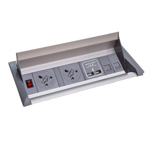 Aero fliptop in-table power module 2 x UK sockets, 2 x RJ45 sockets, 1 x twin USB fast charge - grey/silver