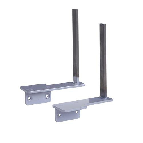 Aluminium framed screen brackets (pair) to fit on desk return - silver