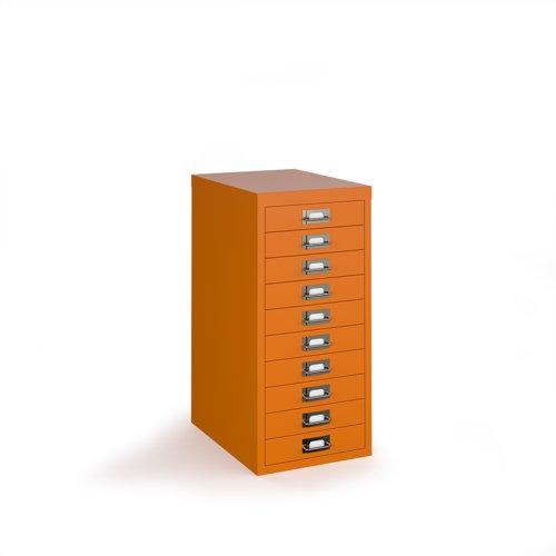 Bisley multi drawers with 10 drawers - orange