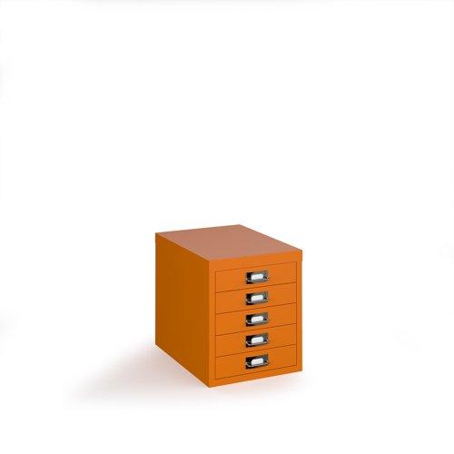 Bisley multi drawers with 5 drawers - orange