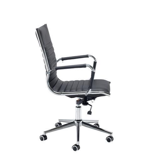 Bari medium back executive chair - black faux leather