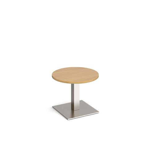 Brescia circular coffee table with flat square brushed steel base 600mm - oak