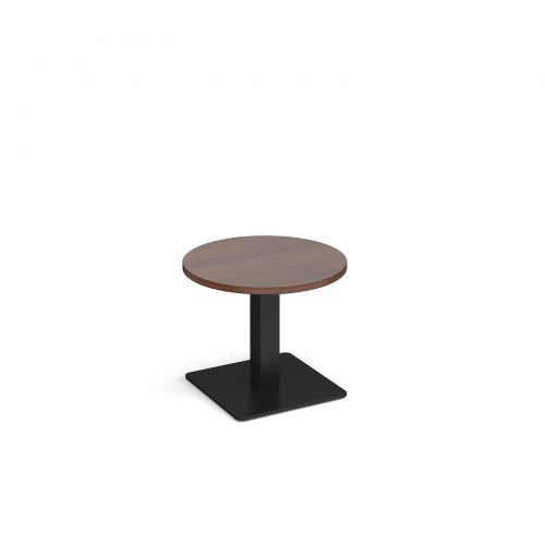 Image for Brescia circular coffee table with flat square black base 600mm - walnut