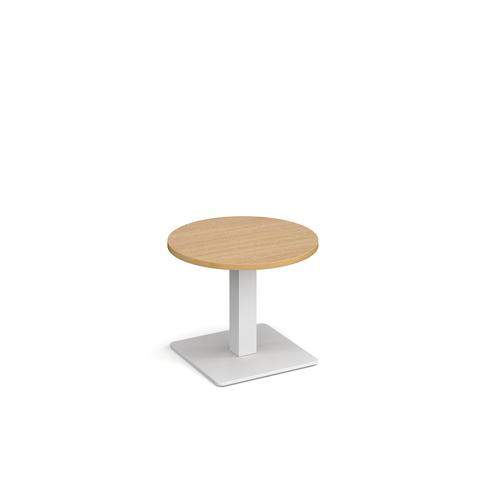 Brescia circular coffee table with flat square white base 600mm - oak