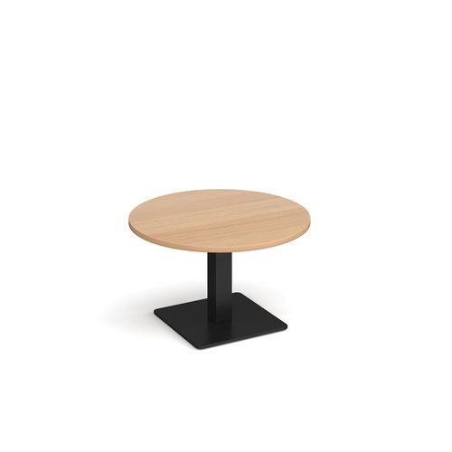 Image for Brescia circular coffee table with flat square black base 800mm - beech