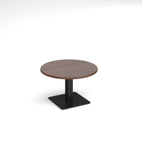 Brescia circular coffee table with flat square black base 800mm - walnut