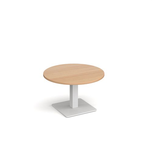 Brescia circular coffee table with flat square white base 800mm - beech