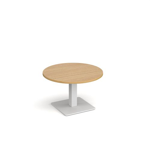 Brescia circular coffee table with flat square white base 800mm - oak
