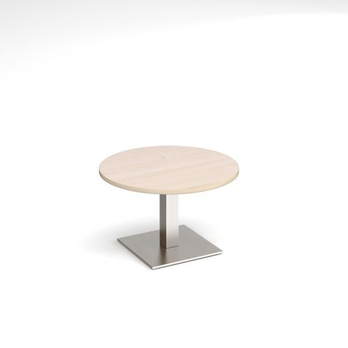 Brescia circular coffee table with flat square brushed steel base 800mm - maple