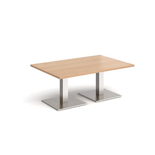 Brescia rectangular coffee table with flat square brushed steel bases 1200mm x 800mm - beech