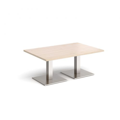 Brescia rectangular coffee table with flat square brushed steel bases 1200mm x 800mm - maple