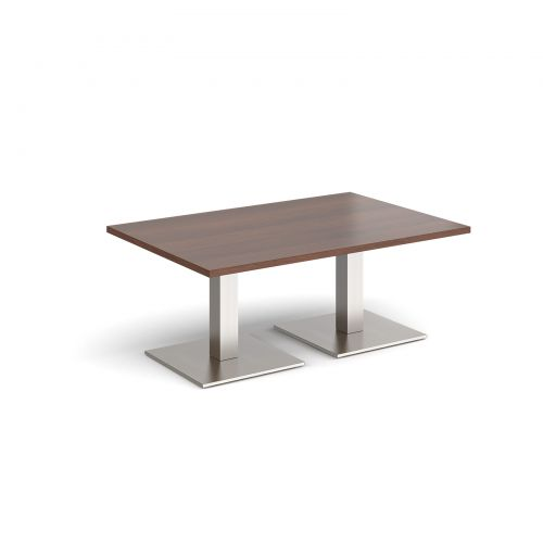 Brescia rectangular coffee table with flat square brushed steel bases 1200mm x 800mm - walnut