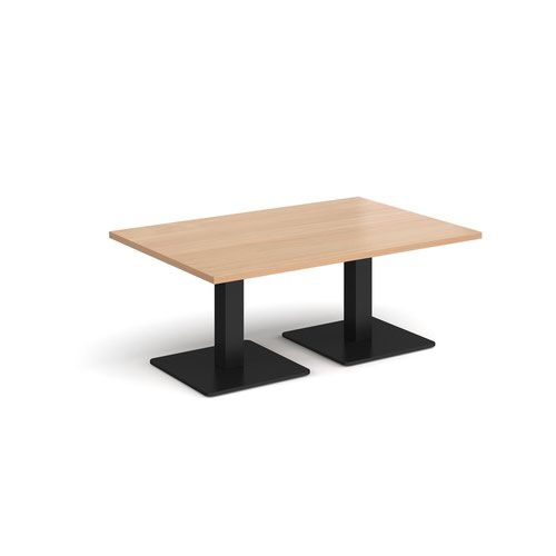 Brescia rectangular coffee table with flat square black bases 1200mm x 800mm - beech