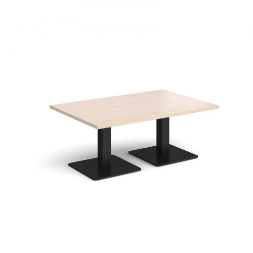 Image for Brescia rectangular coffee table with flat square black bases 1200mm x 800mm - maple