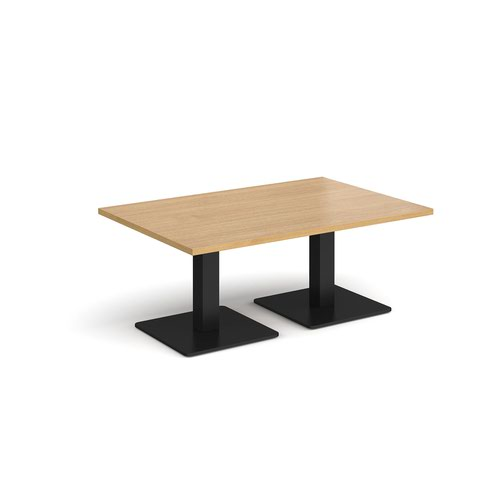 Image for Brescia rectangular coffee table with flat square black bases 1200mm x 800mm - oak