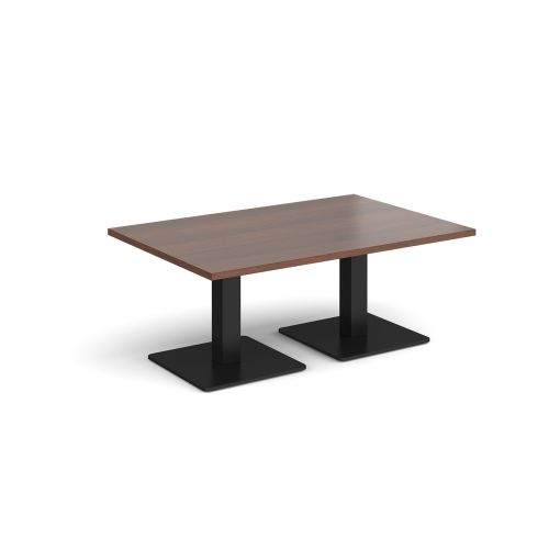 Image for Brescia rectangular coffee table with flat square black bases 1200mm x 800mm - walnut
