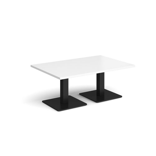 Brescia rectangular coffee table with flat square black bases 1200mm x 800mm - white