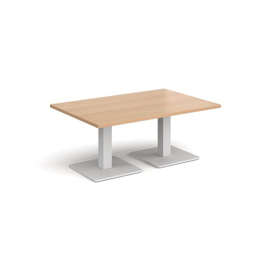 Brescia rectangular coffee table with flat square white bases 1200mm x 800mm - beech