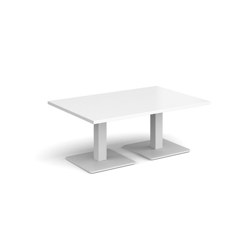 Brescia rectangular coffee table with flat square white bases 1200mm x 800mm - white