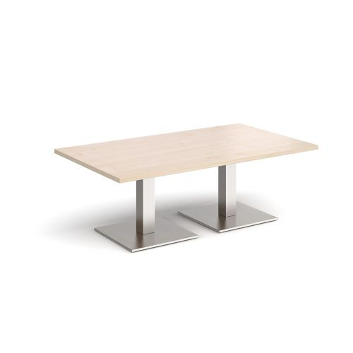 Brescia rectangular coffee table with flat square brushed steel bases 1400mm x 800mm - maple