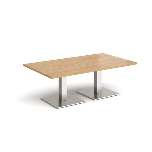 Brescia rectangular coffee table with flat square brushed steel bases 1400mm x 800mm - oak