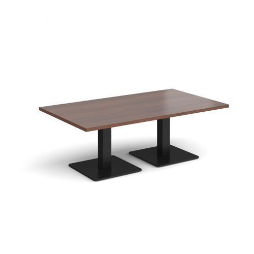 Brescia rectangular coffee table with flat square black bases 1400mm x 800mm - walnut