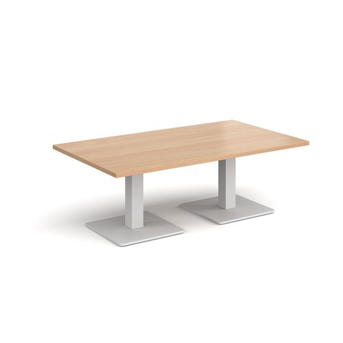 Brescia rectangular coffee table with flat square white bases 1400mm x 800mm - beech