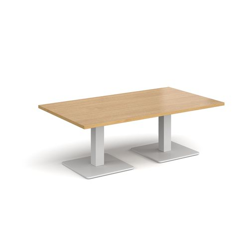 Brescia rectangular coffee table with flat square white bases 1400mm x 800mm - oak