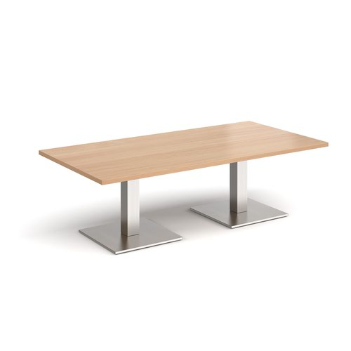 Brescia rectangular coffee table with flat square brushed steel bases 1600mm x 800mm - beech