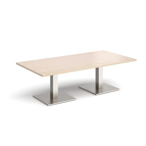 Brescia rectangular coffee table with flat square brushed steel bases 1600mm x 800mm - maple