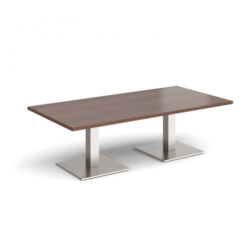 Brescia rectangular coffee table with flat square brushed steel bases 1600mm x 800mm - walnut
