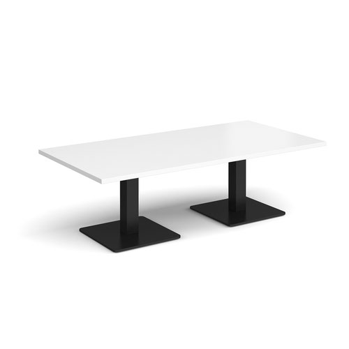 Brescia rectangular coffee table with flat square black bases 1600mm x 800mm - white