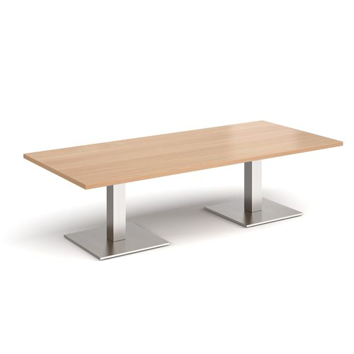 Brescia rectangular coffee table with flat square brushed steel bases 1800mm x 800mm - beech