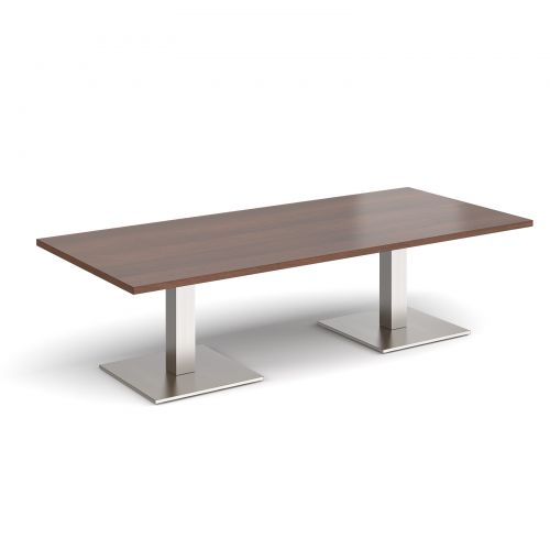Brescia rectangular coffee table with flat square brushed steel bases 1800mm x 800mm - walnut