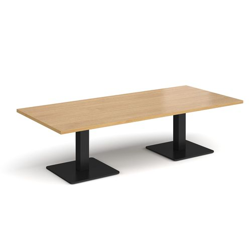 Brescia rectangular coffee table with flat square black bases 1800mm x 800mm - oak