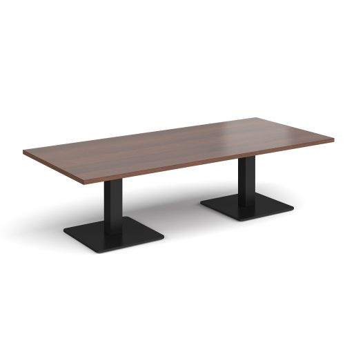 Brescia rectangular coffee table with flat square black bases 1800mm x 800mm - walnut
