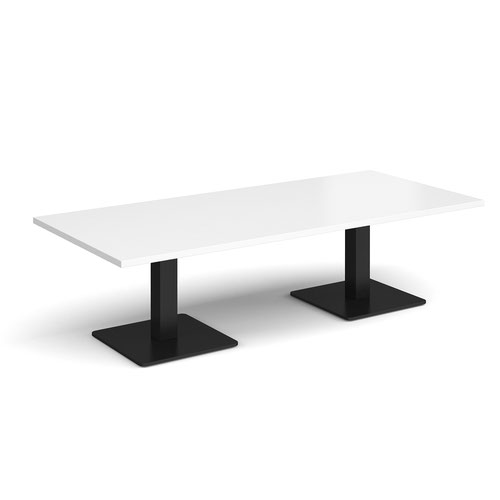 Brescia rectangular coffee table with flat square black bases 1800mm x 800mm - white