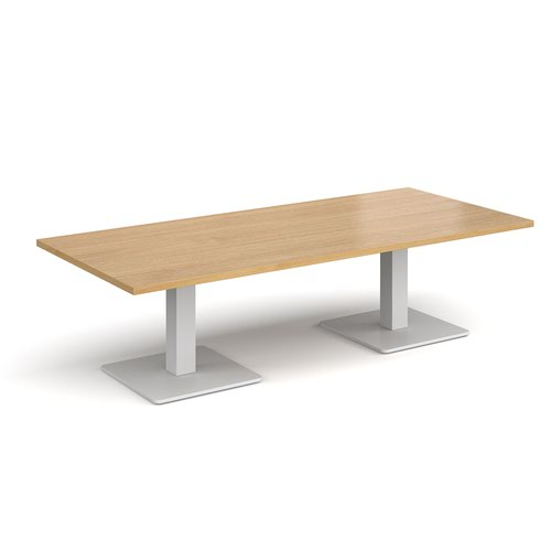 Brescia rectangular coffee table with flat square white bases 1800mm x 800mm - oak