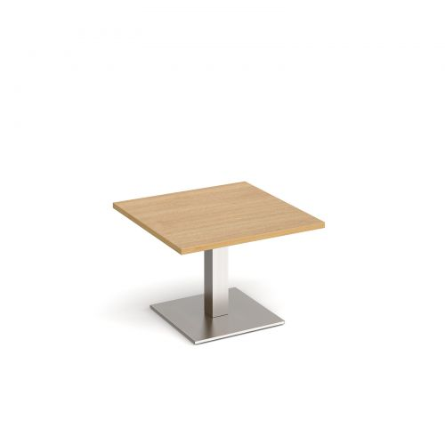 Brescia square coffee table with flat square brushed steel base 700mm - oak