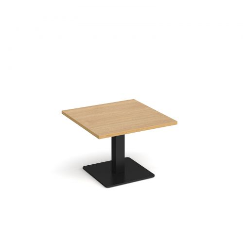 Image for Brescia square coffee table with flat square black base 700mm - oak