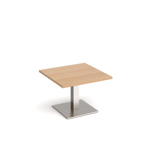Brescia square coffee table with flat square brushed steel base 700mm - beech
