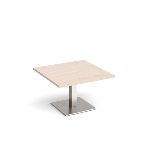 Brescia square coffee table with flat square brushed steel base 800mm - maple
