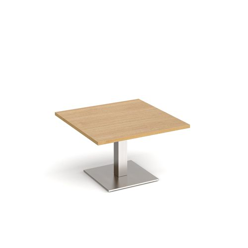 Brescia square coffee table with flat square brushed steel base 800mm - oak