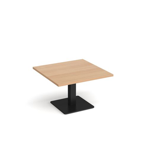 Brescia square coffee table with flat square black base 800mm - beech
