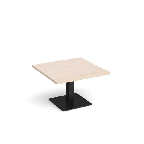 Brescia square coffee table with flat square black base 800mm - maple