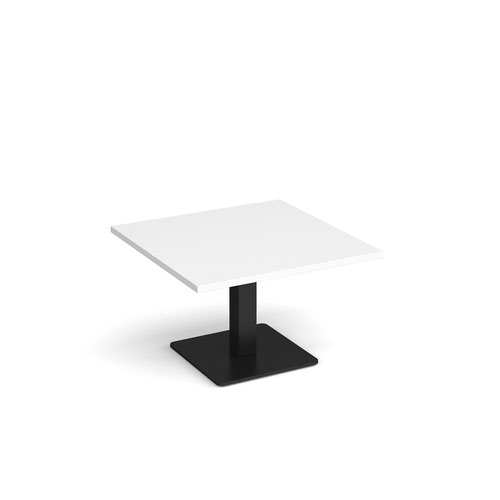 Brescia square coffee table with flat square black base 800mm - white